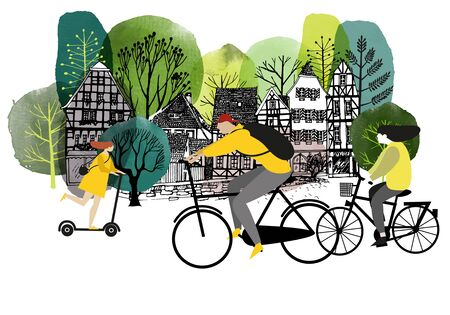 City activites. Vector flat cartoon. Watercolor vector illustration.