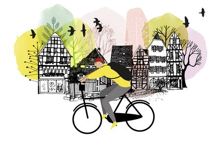 Vector flat illustration of young man on bike in europe city. Watercolor vector illustration. Illustration