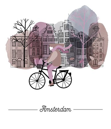 Amsterdam cityscape. Watercolor and vector illustration of girl on bike and Amsterdam city background.