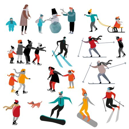 Vector set of flat people in winter activites. Winter sport vector flat illustration