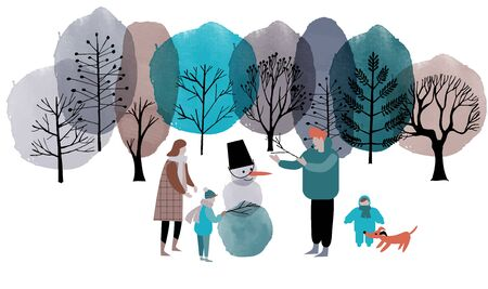 Family make a snowman in a winter park. Winter watercolor and flat vector background