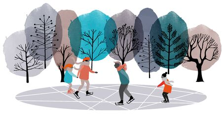 Ice-skate and winter landscape. Watercolor and flat vector background.