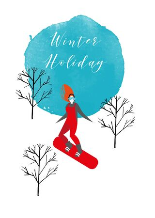 Snowboarding woman vector illustration. Watercolor background