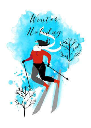 young woman skiers vector flat illustration. Watercolor background
