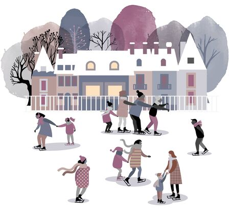 Ice skating in the town. Watercolor and flat vector illustration