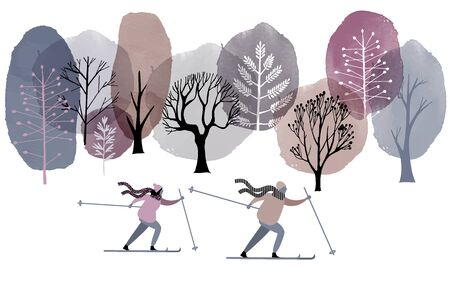 skiers vector flat illustration. Watercolor background