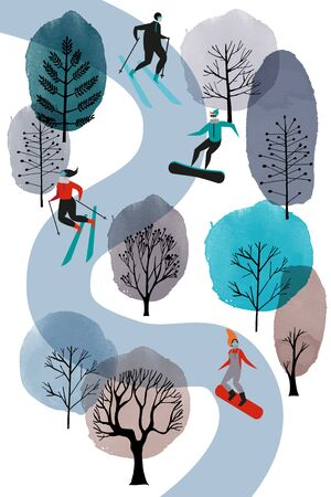 skiers and snowborder vector flat illustration. Watercolor background
