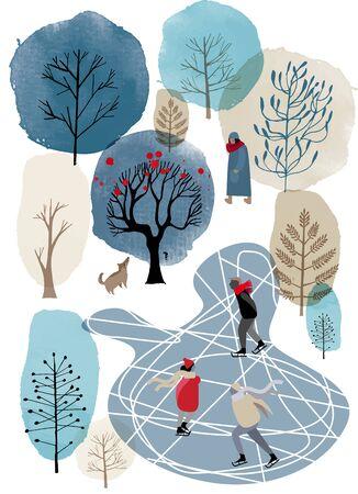 Ice-skate and winter landscape. Watercolor vector background. Illusztráció