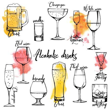 Conception de bannière de boissons alcoolisées. champagne, vin rouge, vin blanc, vermouth, brandy, whisky, bière. Ensemble de vecteurs. texture aquarelle. Vecteurs