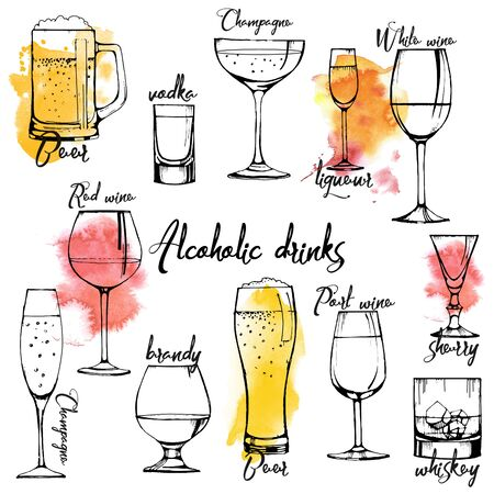 Alcohol drinks banner design. champagne, red wine, white wine, vermouth, brandy, whiskey, beer. Vector set. watercolor texture. Illustration