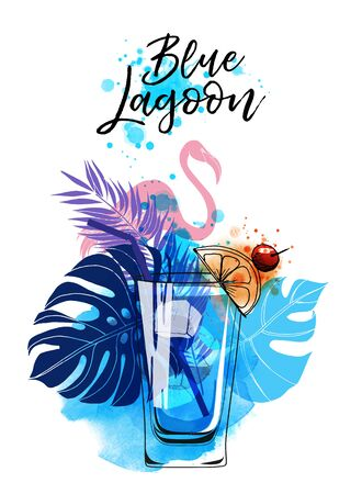 Cocktails banner blue lagoon. Watercolor vector cocktails.