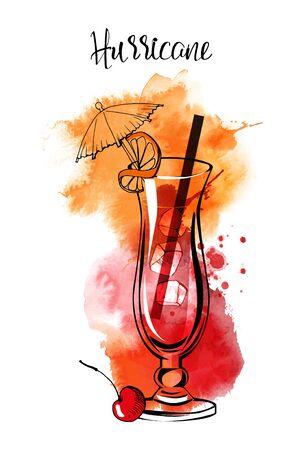 Cocktails banner Hurricane. Watercolor vector cocktails.