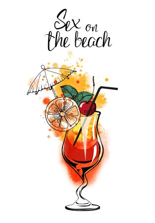 Sex on the beach cocktail banner. Watercolor vector illustration