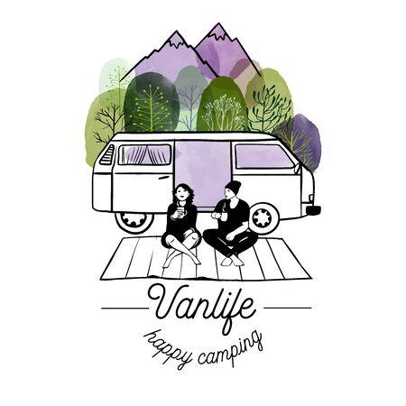Van life vector illustration. Watercolor and sketch illustration.