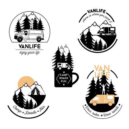 Van life vector logo set. Hand drawn illustration.