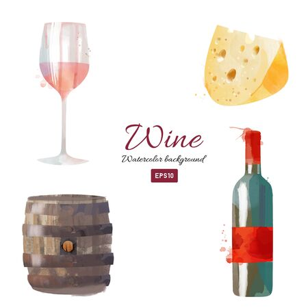 Set of vector watercolor illustration of wine and elements