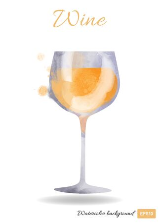 vector watercolor illustration of wine glass Ilustrace
