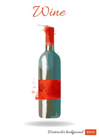 vector watercolor illustration of wine bottle