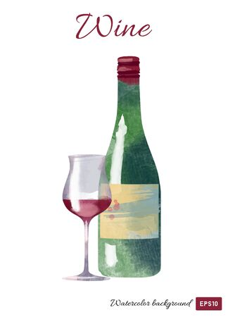 vector watercolor illustration of wine glass and wine bottle