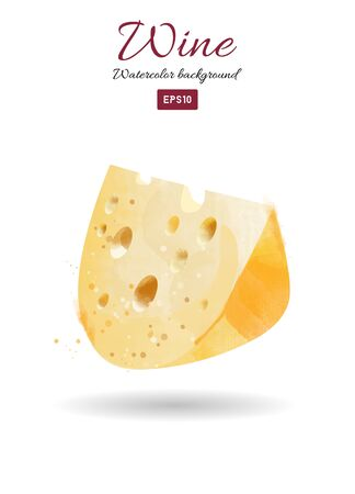 Watercolor vector illustration of cheese