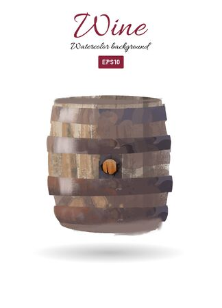 Watercolor vector illustration of wine barrel