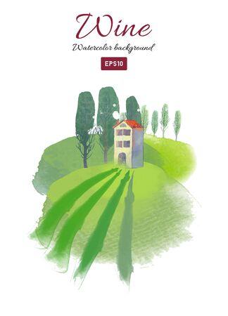Watercolor vector wine toscana landscape background. Ilustracja