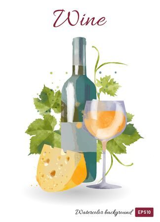 watercolor vector wine bottle and glass
