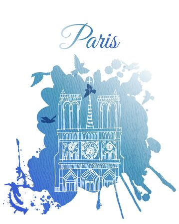 Paris city landmarks Notre Dame de Paris. Vector illustration and watercolor textur