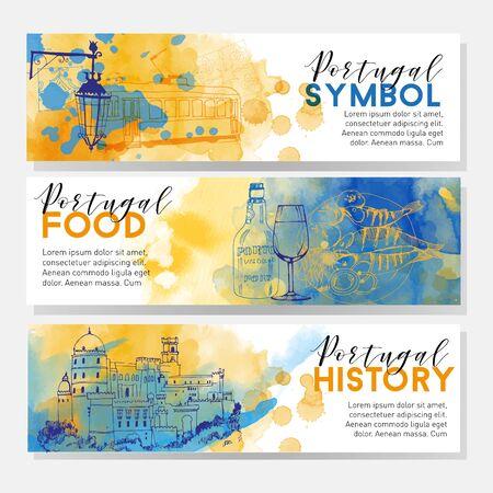 Portugal flyer design set