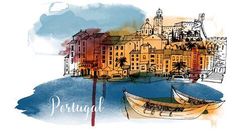 Vector Portugal illustration. Watercolor background. Cityscape 矢量图像