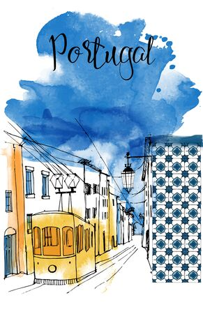 Portugal card design. Watercolor and sketch illustration