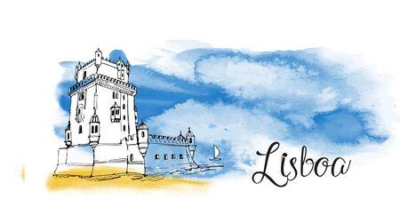 Portugal card design. Watercolor and sketch illustration of Lisboa 矢量图像
