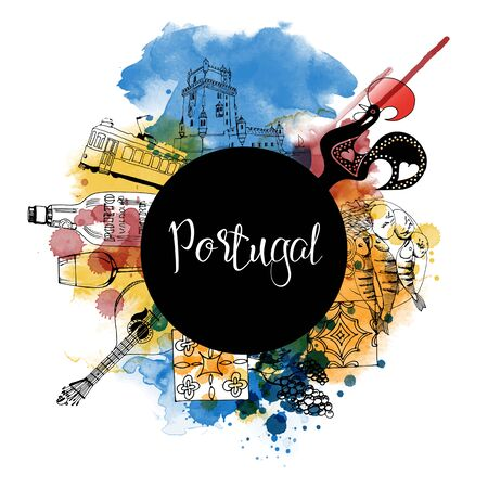 Portugal. Watercolor and sketch illustration vector poster