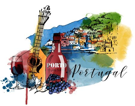 Portugal poster. Watercolor and sketch vector illustration