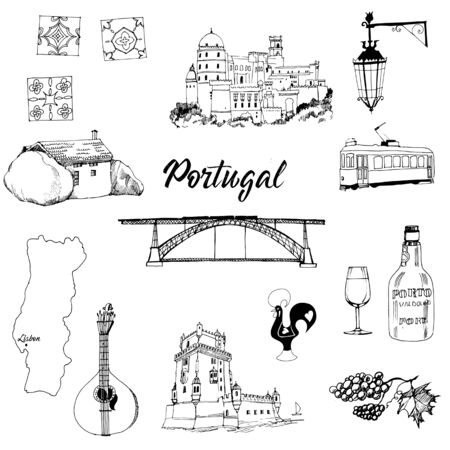 Portugal. Hand drawn sketch illustration vector set Ilustração