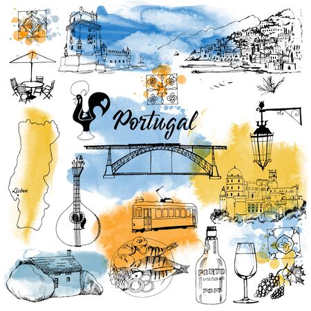 Portugal. Watercolor and sketch illustration vector set
