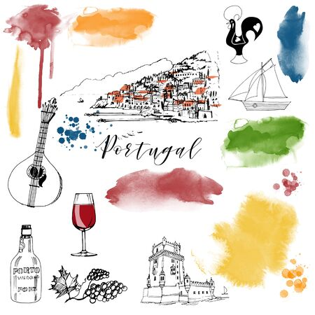 Portugal. Watercolor and sketch illustration vector set ..