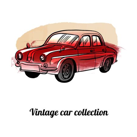 Vintage vector car collection. watercolor and sketch style illustration