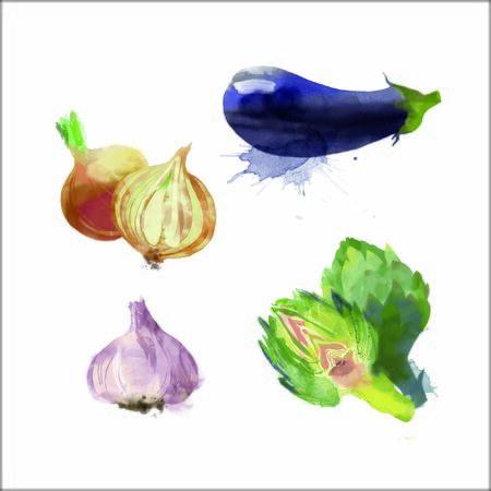Watercolor vector vegetables set with onion, artichoke, garlic and eggplant 向量圖像