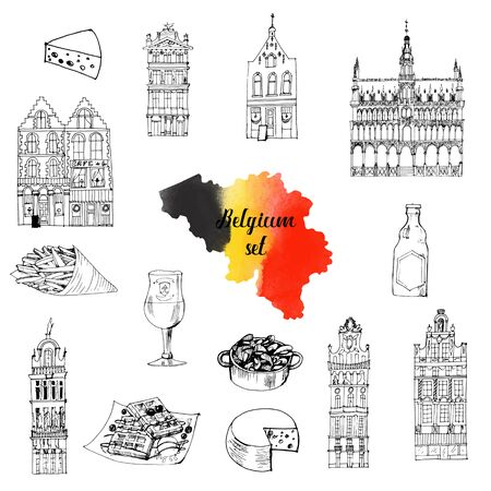 belgium vector set. sketch illustration