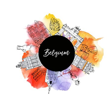 belgium vector and watercolor background. 向量圖像