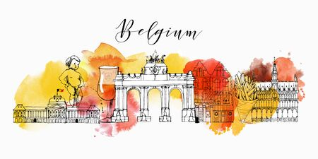 belgium cityscape vector sketch and watercolor background