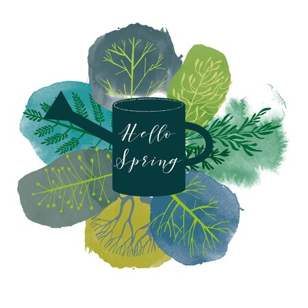 Watercolor vector smer and spring tree collection