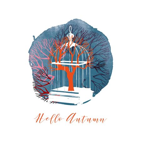 Hello Autumn card. Vector illustration of birdcage and autumn leaves Ilustrace