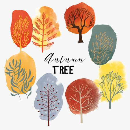 Autumn landscape.Vector tree collection. Ilustrace