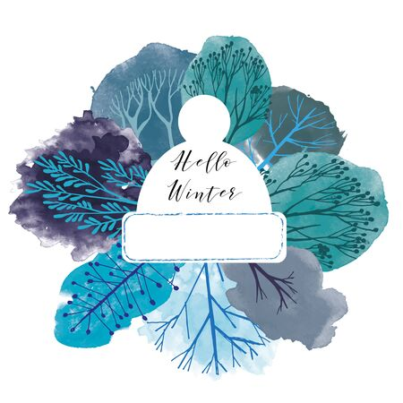 Watercolor vector winter tree collection