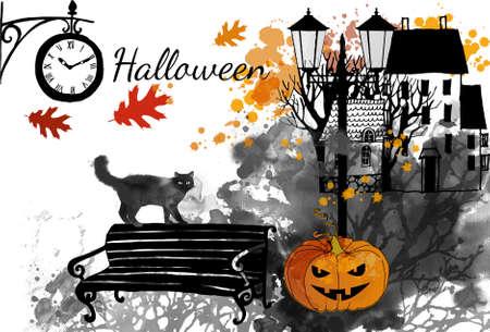 Halloween vector watercolor background Stock fotó - 155749625