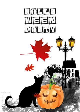 Halloween vector watercolor background Stock fotó - 155749628