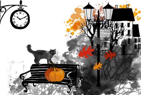 Halloween vector watercolor background