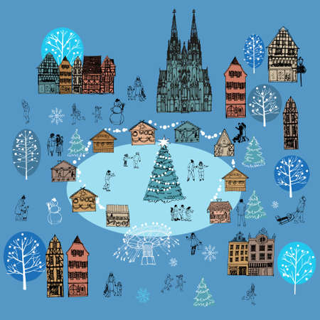 Christmas market europe. Hand drawn vector background